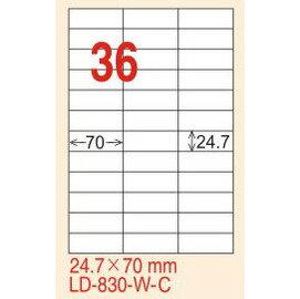 ~龍德~LD~830 直角  雷射、影印 標籤~雷射透明 可列印  24.7x70mm 1