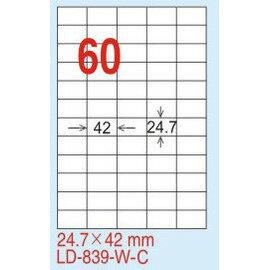 ~龍德~LD~839^(直角^) 雷射、影印 標籤~雷射透明^(可列印^) 24.7x42