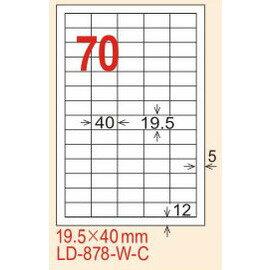 ~龍德~LD~878^(直角^) 雷射、影印 標籤~雷射透明^(可列印^) 19.5x40