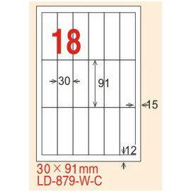 ~龍德~LD~879^(直角^) 雷射、影印 標籤~雷射透明^(可列印^) 30x91mm