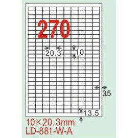 ~龍德~LD~881 直角  雷射、影印 標籤~雷射透明 可列印  10x20.3mm 1