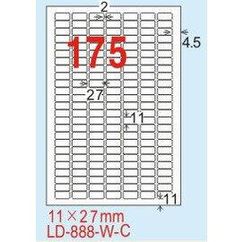 ~龍德~LD~888^(圓角^) 雷射、影印 標籤~雷射透明^(可列印^) 11x27mm