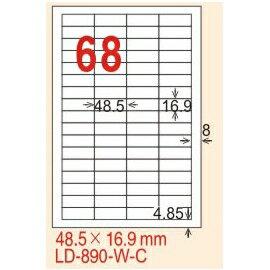 ~龍德~LD~890^(直角^) 雷射、影印 標籤~螢光五色 48.5x16.9mm 20