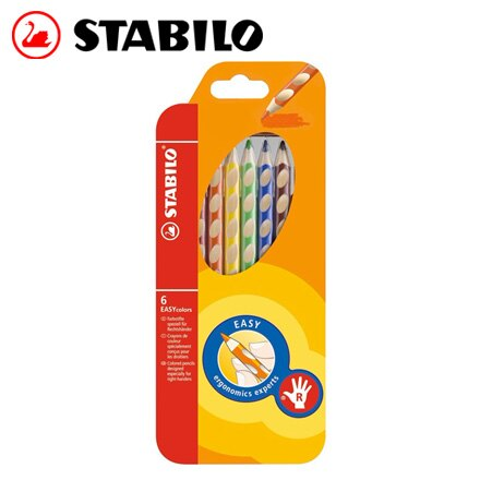 STABILO 德國天鵝 EASYcolors 人體工學色鉛筆(332/6右手專用) - 6支入 / 組