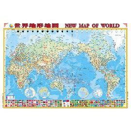 世界地形圖(二全開掛圖)(金時代)