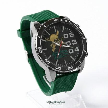 One Piece 海賊王 俏皮索隆圖案 綠色錶帶手錶 送禮 珍藏 柒彩年代~NE1744