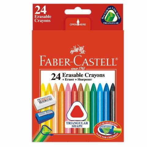 【輝柏 Faber-Castell 蠟筆】122624三角擦擦蠟筆(24色/盒)