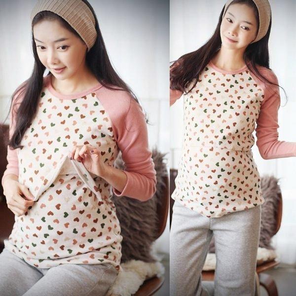 *漂亮小媽咪*彩色甜心韓版棉+滌綸心形長袖哺乳衣 哺乳衣 孕婦上衣 YS1304
