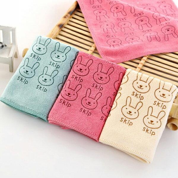 毛巾 卡通兔兔柔軟清潔小方巾 25x25cm 超細纖維 擦拭布【ZRV035】收納女王