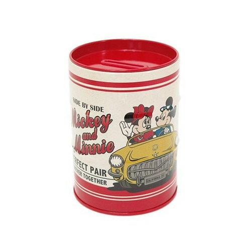 米奇米妮款【日本進口正版】迪士尼 復古 鐵製 存錢筒 擺飾 筆筒 Disney - 051854