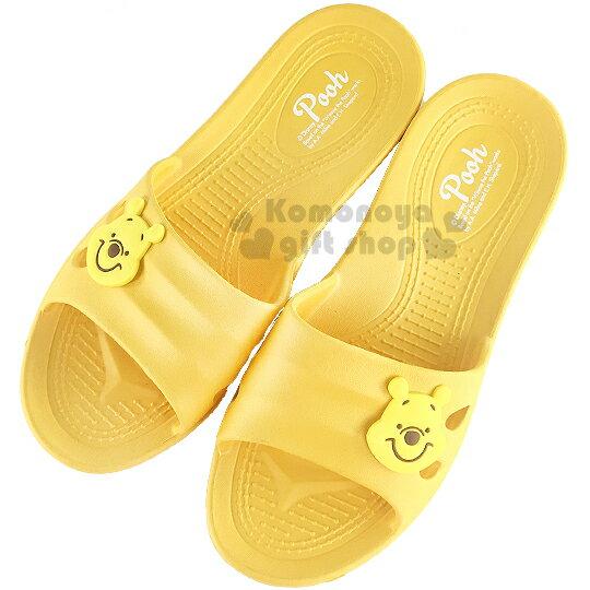 〔小禮堂〕迪士尼 小熊維尼 塑膠拖鞋《黃.大臉》環保室內防滑