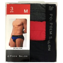 POEM SALON 彈力棉三角褲(PS3371) M (3入)/盒 隨機