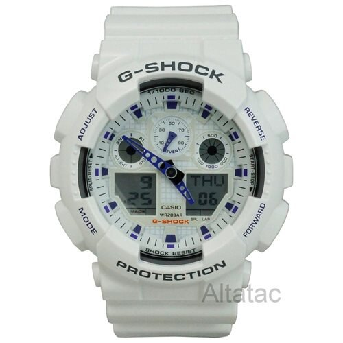 Casio G-Shock Analog Digital Grey Dial White Mens Watch GA100A-7A 0