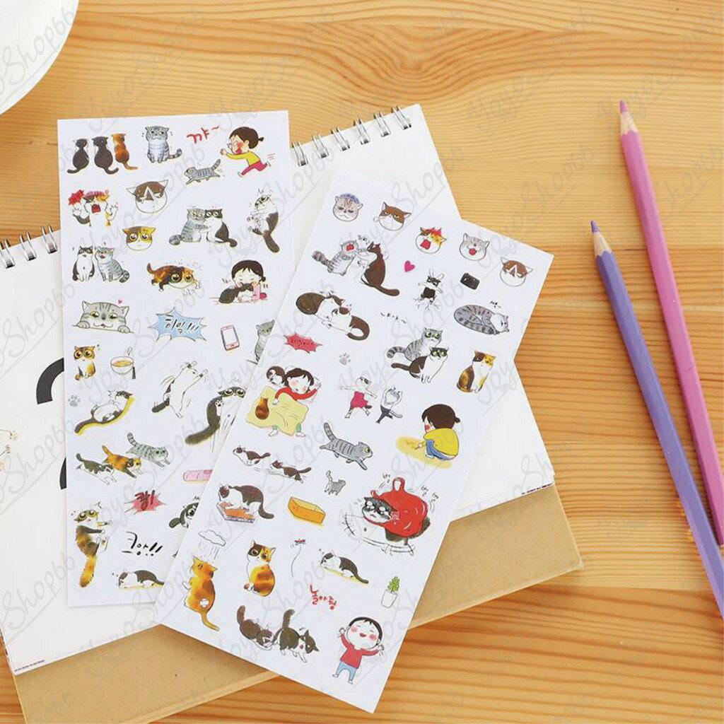 【蜜絲小舖】韓國貓咪透明貼紙 相冊 手帳 透明白底貼紙 日記貼紙裝飾貼紙 裝飾手帳 貓咪貼紙 貓奴動物 裝飾貼#686