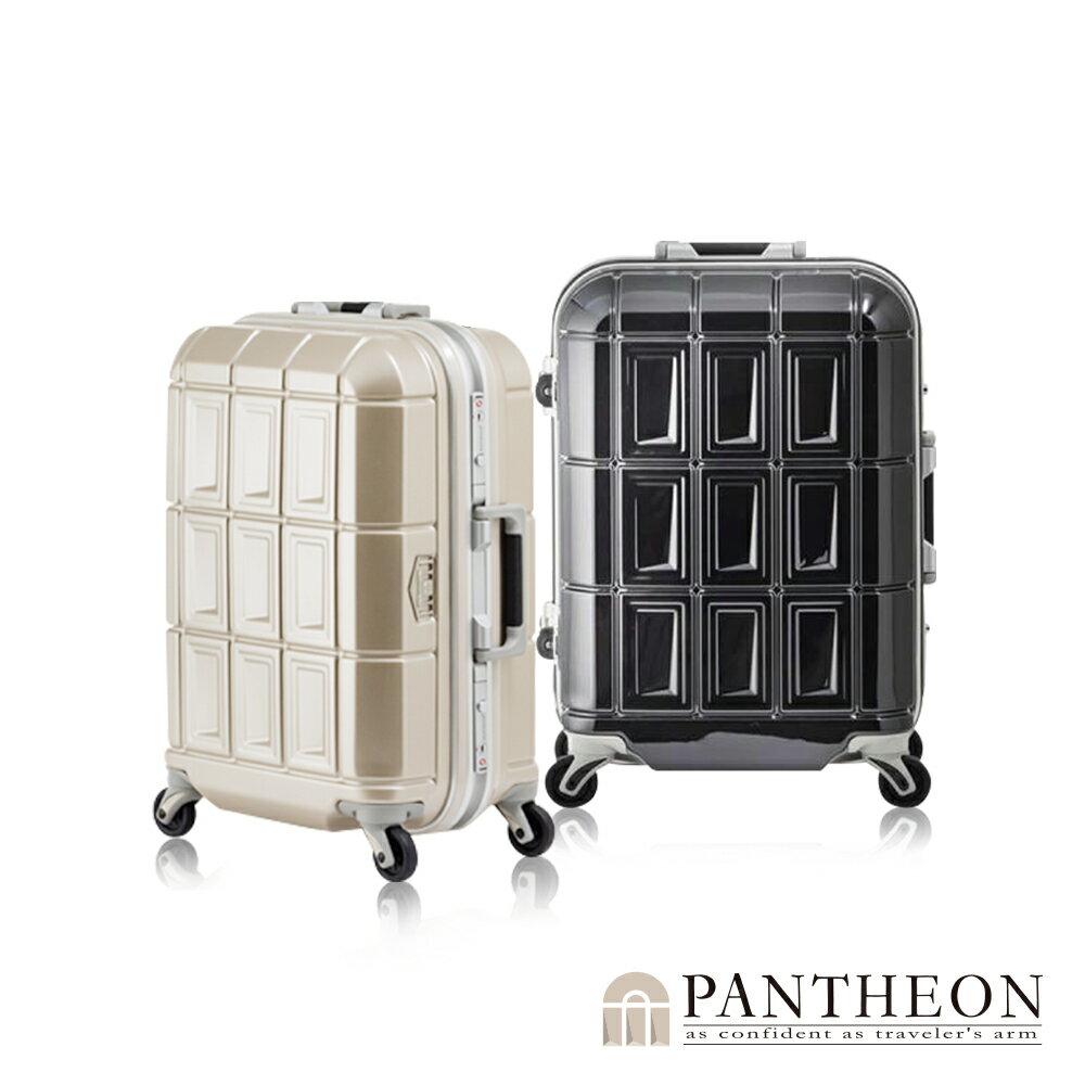日本PANTHEON 19吋 網美行李箱 輕量鋁框硬殼旅行箱-經典黑