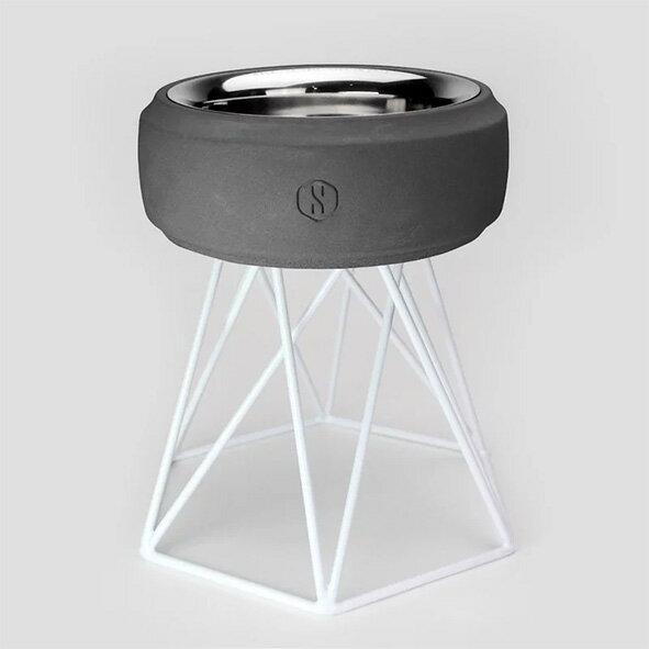 SPUTNIK 寵物碗架 Cozy Cement Bowl - 黑水泥+白架(M2) Pet's Talk 1