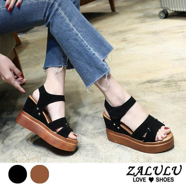 ZALULU愛鞋館7DE085預購韓版美腿女王斜坡跟涼鞋-黑黃-35-39