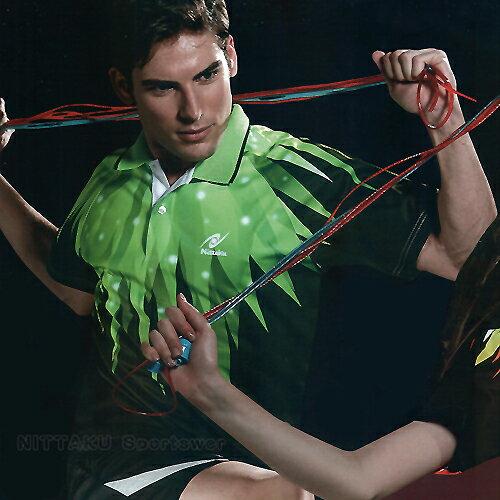 日本名牌Nittaku男女吸濕排汗(印刷圖騰)短POLO衫-黑綠(#3510) - 限時優惠好康折扣