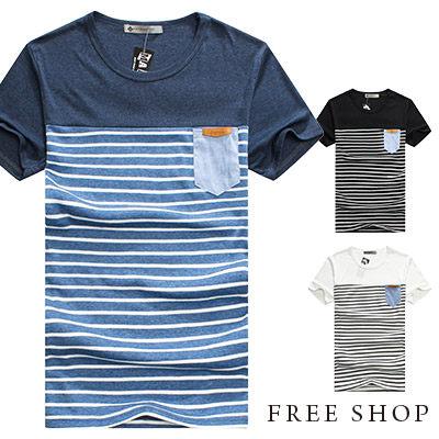 Free Shop~QMD20010~日韓系條紋拼布撞色牛仔口袋皮標圓領棉質短T上衣潮T‧