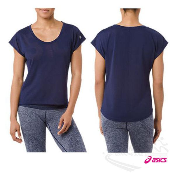 亞瑟士ASICS女短袖T恤(深藍)寬版設計方便舒適瑜珈上衣151391-8052【胖媛的店】