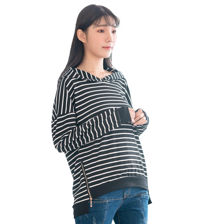 長版帽T--休閒造型撞色條紋前短後長拉鍊開衩羅紋連帽T恤上衣(黑XL-3L)-X338眼圈熊中大尺碼 0