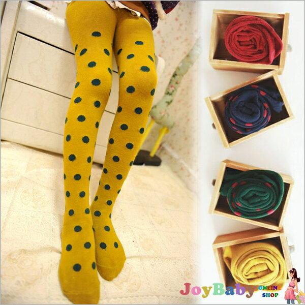 童襪子連身褲襪 -保暖波點純棉襪-JoyBaby