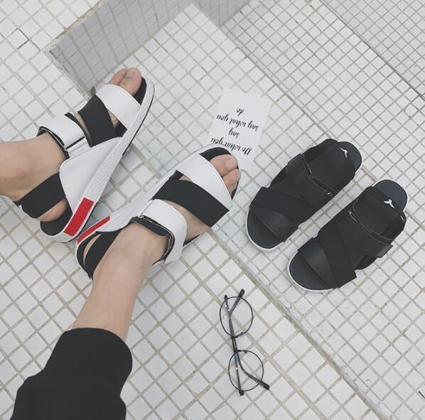 FINDSENSE服飾:FINDSENSEMD日系流行時尚潮男魔術貼羅馬涼鞋拖鞋海灘鞋休閒鞋