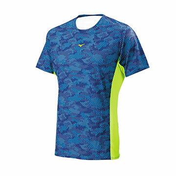 J2TA700216(深藍X螢光黃綠)DryScience吸汗快乾、昇華印花 男路跑短T恤【美津濃MIZUNO】
