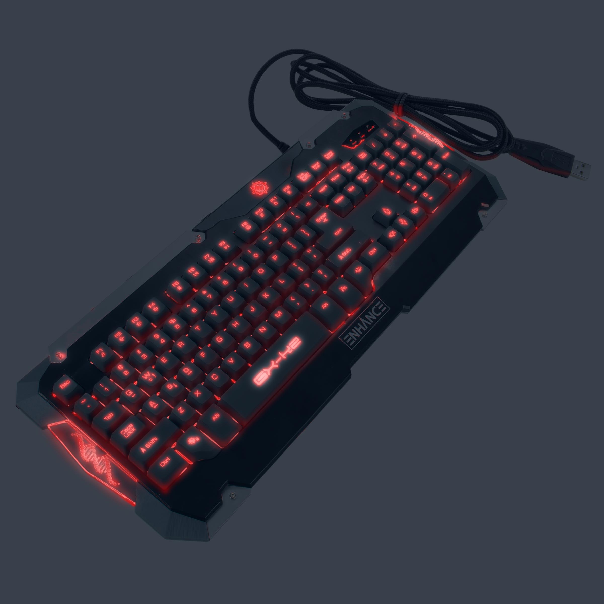 ENHANCE GX-K2 LED Gaming Keyboard with Hybrid Switches , 104+ Keys & 3 Switchable Backlight Colors 7
