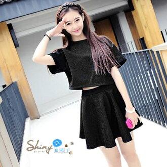 【V456】shiny藍格子-經典閃亮.甜美蝙蝠袖圓領短版上衣+小黑短裙套裝