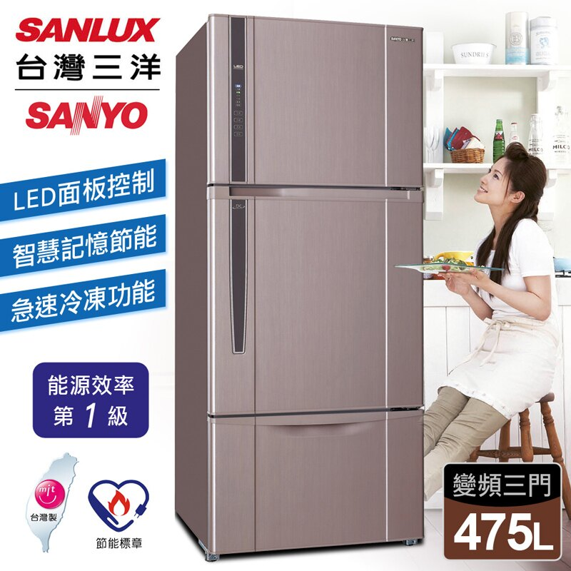 【台灣三洋 SANLUX】475公升三門變頻冰箱/香檳紫(SR-B475CV)