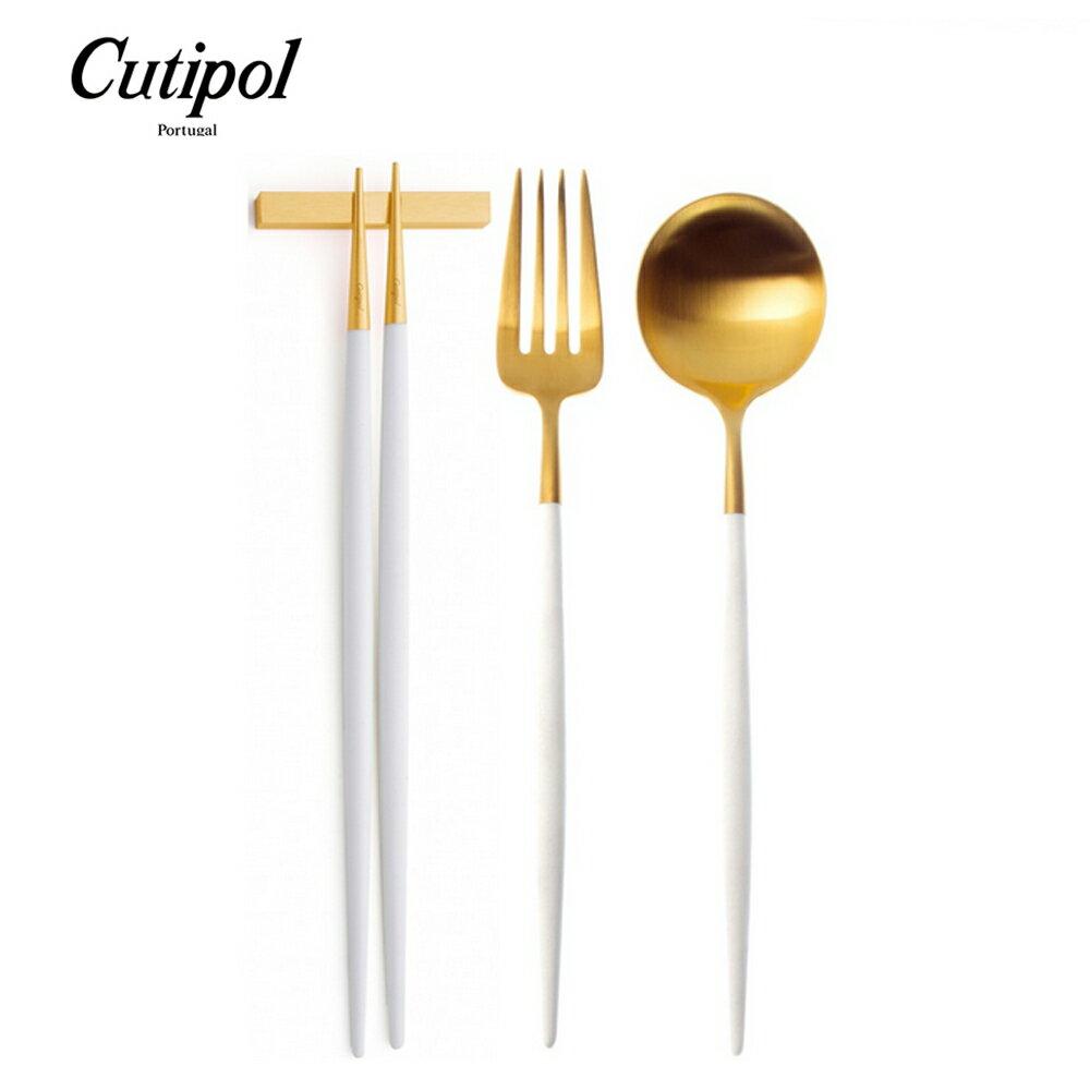 葡萄牙 Cutipol GOA系列餐具組-主餐叉+主餐匙+筷組(白金)