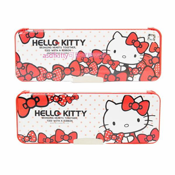 asdfkitty可愛家☆KITTY紅蝴蝶結硬盒雙面鉛筆盒-韓國製