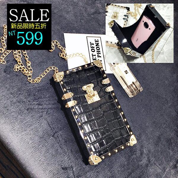 ☆克妹☆現貨+預購【AT37532】重推!歐美時髦鱷魚皮紋鉚釘硬殼立體鐵鍊手機包