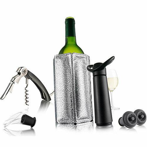 《VACUVIN》開酒注酒抽真空+保軟冰桶6件(銀)