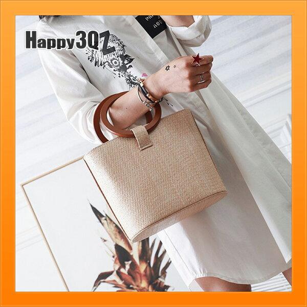 編織手提包實木斜背包側背包夏天大容量棕色包包海灘包度假風草包【AAA4411】