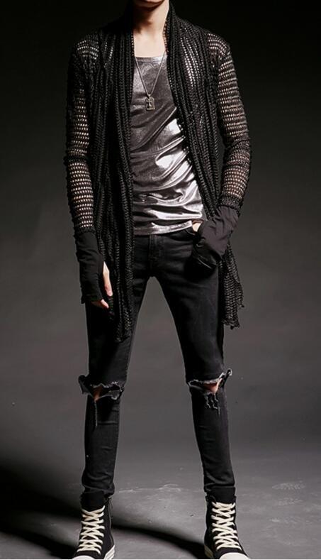 FINDSENSE 韓國潮流 個性 中長款 透視感鏤空 綁帶 時尚 街頭潮男 夜店 DJ 鏤空外套 高端長版外套
