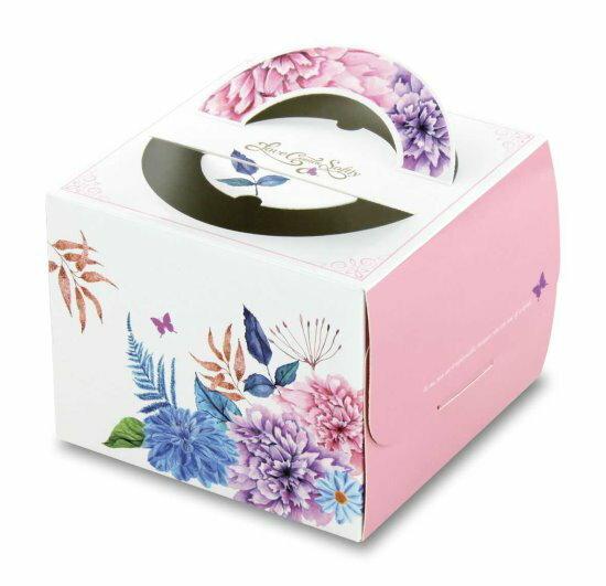 【基本量】手提蛋糕盒.愛在春天.粉紅色8號200個