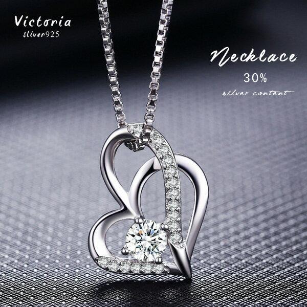 Victoria:S925銀雙愛心項鍊-維多利亞170308