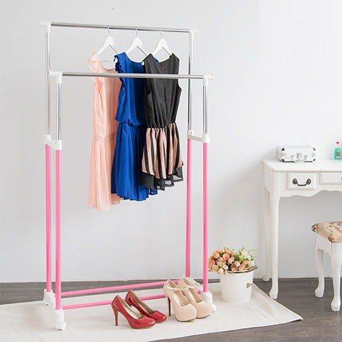 [tidy house]馬卡龍粉嫩雙桿衣架/曬衣架/吊衣架/收納架/掛衣架/置物架/衣櫥架-粉紅HG22B-PK