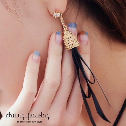 長綢帶金屬頭造型耳環【櫻桃飾品】【10551】