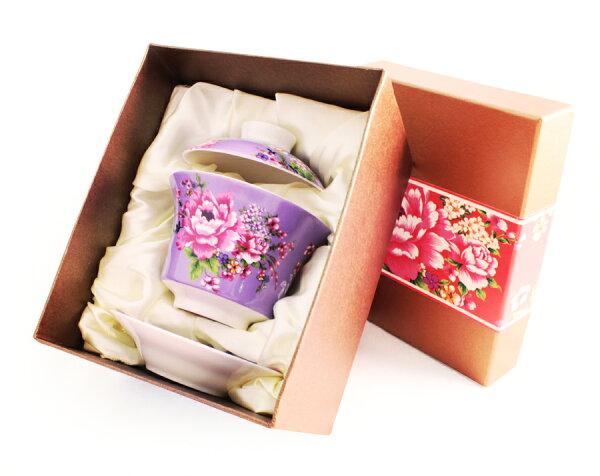 紅花系列蓋碗~(紫色)