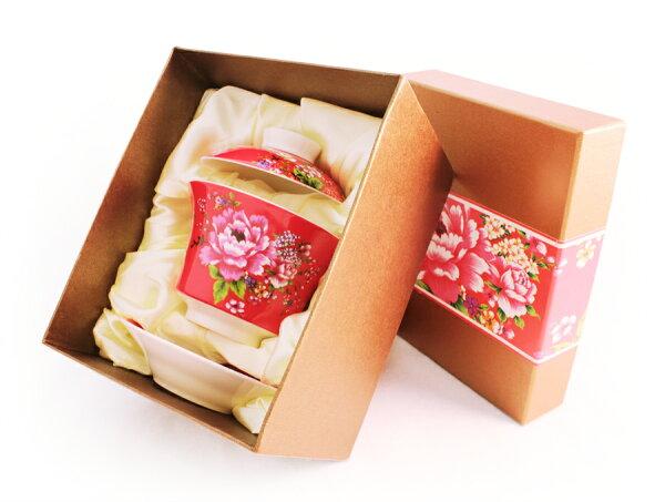 紅花系列蓋碗~(紅色)