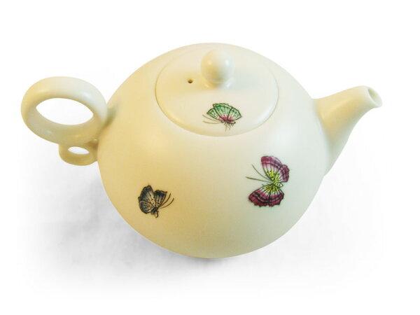 [安達窯]羊脂白手繪蝴蝶茶壺