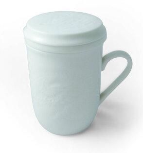 牙白瓷龍紋同心杯