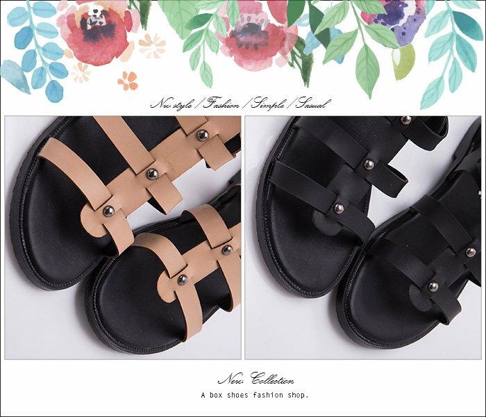 【KFK516-2】韓國製 街頭雜誌時尚單品 高品質真皮後拉鍊 魚骨羅馬涼鞋 羅馬鞋 2色 1