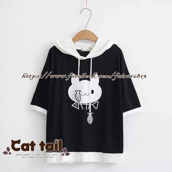 《貓尾巴》TS-0652可愛魚骨頭拼色連帽短袖T恤(森林系日系棉麻文青清新)