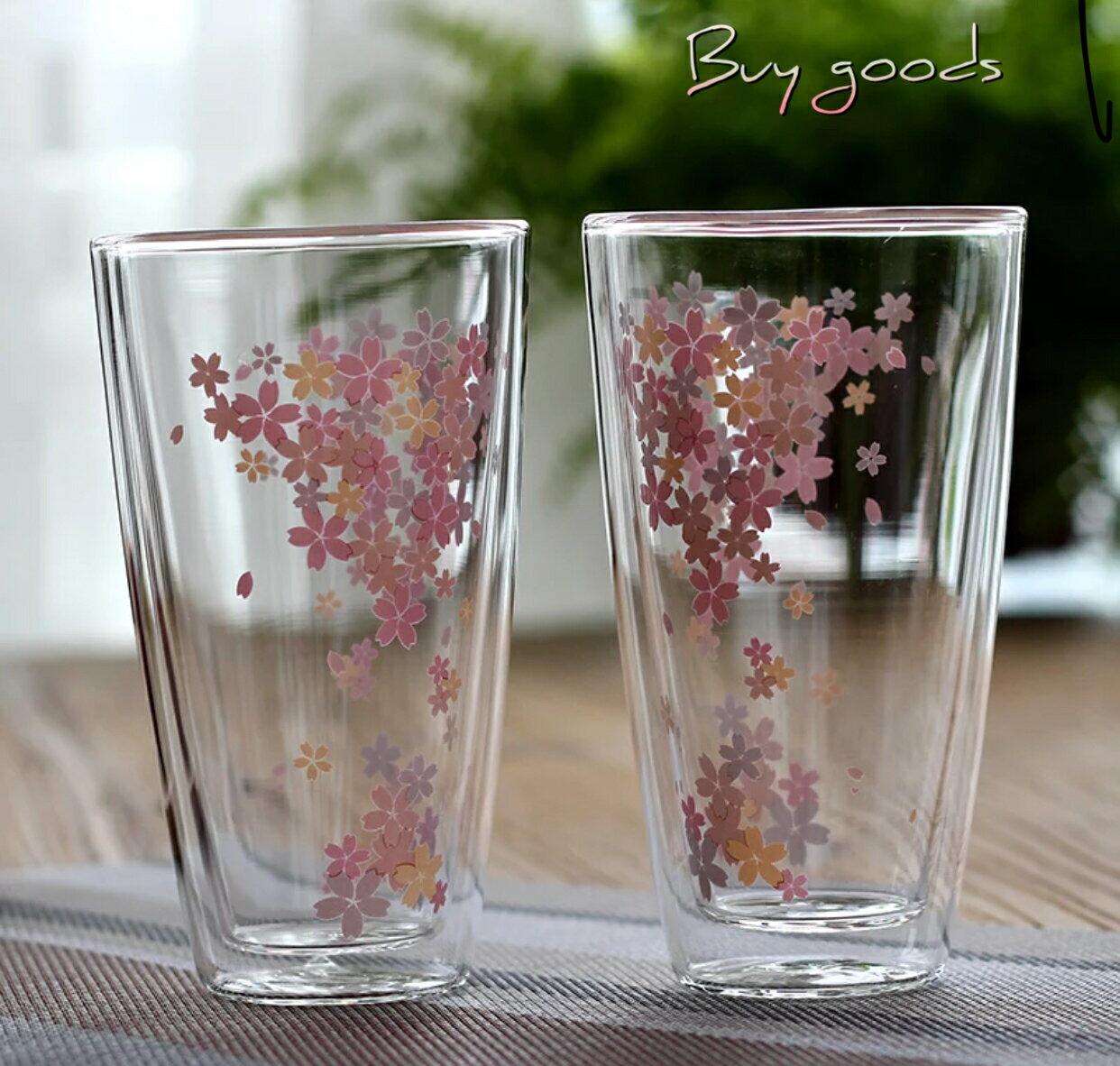 櫻花雙層玻璃杯  附玻璃蓋