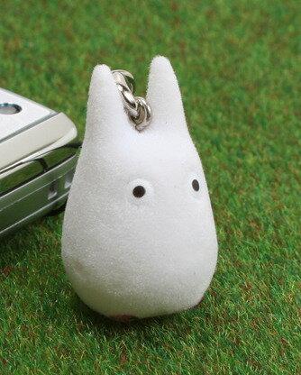【真愛日本】7082200027 植毛公仔珠鍊鎖圈-小龍貓白  龍貓 TOTORO 吊飾 鑰匙圈