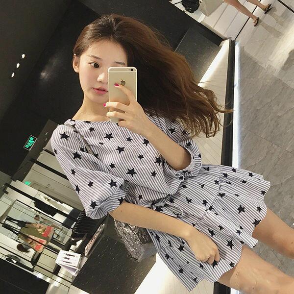 PS Mall 顯瘦條紋星星圖案寬鬆短袖連身裙 連身洋裝~T745~ ~  好康折扣